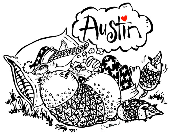 Pillow case design for the Austin Convention and Visitor's Bureau.