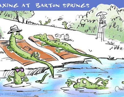 Postcard design featuring Austin's famous salamanders